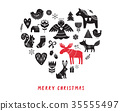 Merry Christmas background with hand drawn Scandinavian, Nordic style illustrations 35555497