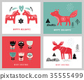Christmas holidays greeting cards in Scandinavian style 35555499