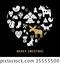Merry Christmas background with hand drawn Scandinavian, Nordic style illustrations 35555500