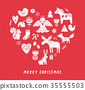 Merry Christmas background with hand drawn Scandinavian, Nordic style illustrations 35555503