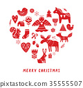Merry Christmas background with hand drawn Scandinavian, Nordic style illustrations 35555507