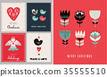 Christmas holidays greeting cards in Scandinavian style 35555510