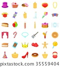 Celebrate icons set, cartoon style 35559404