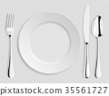 Realistic empty vector plate with spoon, knife and 35561727