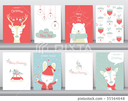 Set Of Cute Merry Christmas Background With Cute Stock