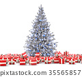 White frosty New Year tree with gift boxes 35565857