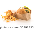 grill chicken burger with french fries 35566533
