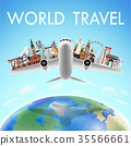 airplane with world travel landmark over the world 35566661