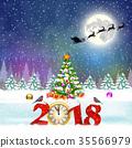 christmas, moon, snow 35566979