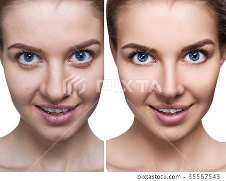 Comparison portrait of young woman 35567543