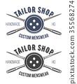 Tailor shop vintage emblem or signage vector 35568274