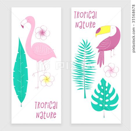 Tropical design with flamingo, 35568678