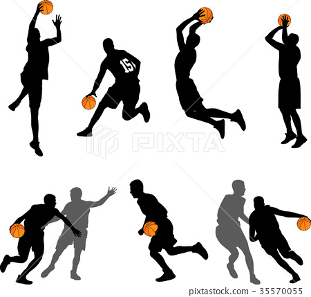 basketball players silhouettes collection 35570055