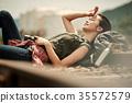 跟踪廢線斷裂女人背包客 35572579