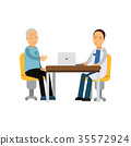 Male therapist in uniform sitting behind table and 35572924