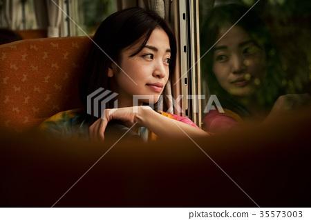 火車的女性背包徒步旅行者 35573003