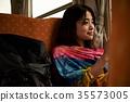 火車的女性背包徒步旅行者 35573005