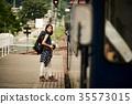 女子背包客家庭火車 35573015