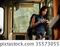 火車的女性背包徒步旅行者 35573055