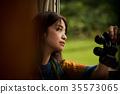 火車的女性背包徒步旅行者 35573065