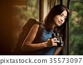 火車的女性背包徒步旅行者 35573097