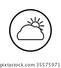 Vector of Cloud and sun icon in Circle line  35575971