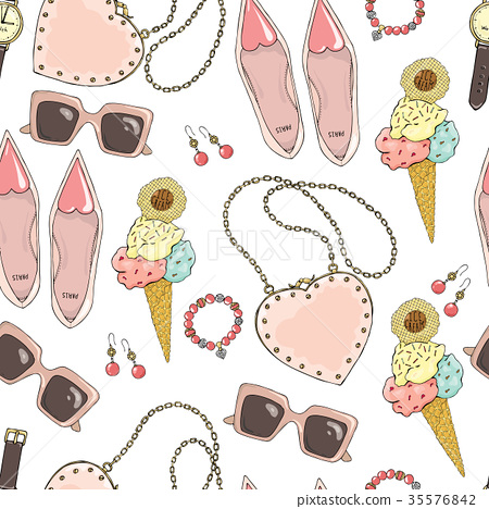 Pattern of women accessories and ice cream on a 35576842