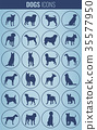 Dog breeds silhouettes. Dog icons collection 35577950