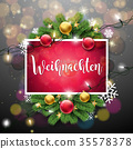 Vector Christmas Illustration with German Frohe 35578378