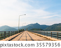 Stone Bridge Walkway river and Mountain Landscape 35579356