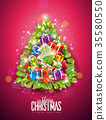 Vector Merry Christmas Illustration on Shiny Red 35580550