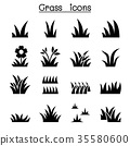 Grass icon set illustration graphic design 35580600