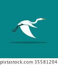 Vector of Heron or egret design flying 35581204