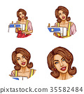 Set of vector pop art round avatar icons for users 35582484