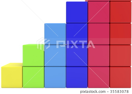 Stacked rows of toy cubes 35583078
