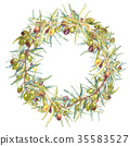 Watercolor colorful realistic wreath with ripe 35583527