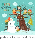 vector, christmas, tree 35583952