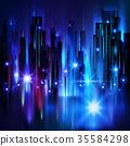 城市 地平线 照明 35584298