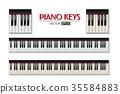 Vector photorealistic piano keyboard icon set 35584883