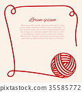Red clew. Papercut yarn. Border with thread. 35585772
