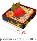New Year dishes, Ninoju and celebration chopsticks 35593812