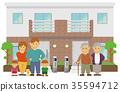 2 세대 주택과 부모와 자식 3 세대 동거 이미지 일러스트 35594712