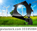 Wind Energy - House with a Light Bulb 35595084