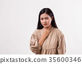 sick woman with sore throat 35600346
