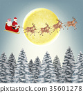 santa claus reindeer on christmas winter forest 35601278