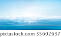 Vector blue sea  and  sun shine sky  background. 35602637