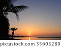 풍경, 바다, 노을 35603289