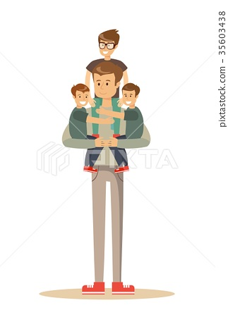 Happy father With 3 Children 35603438