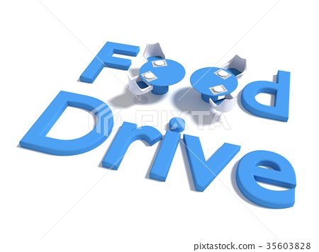 The words food drive on white with table 35603828