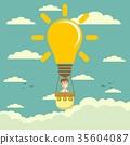 Businessman fly in lightbulb like a hot air 35604087